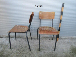Chairs wood metal bright