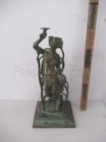 Figural bronze candlestick