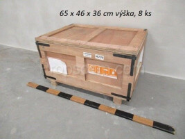Wooden box with metal reinforcement