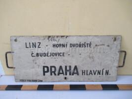 information sign: Linz - Prague main railway station