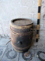 Barrel with wooden hoops