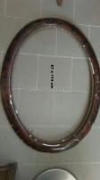 oval mirror wooden frame